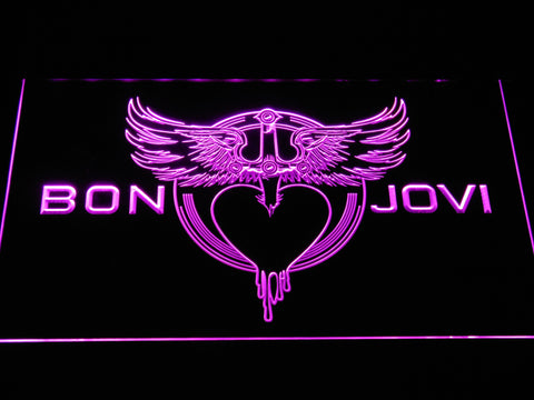 Bon Jovi Heart and Dagger Logo LED Neon Sign - Purple - SafeSpecial