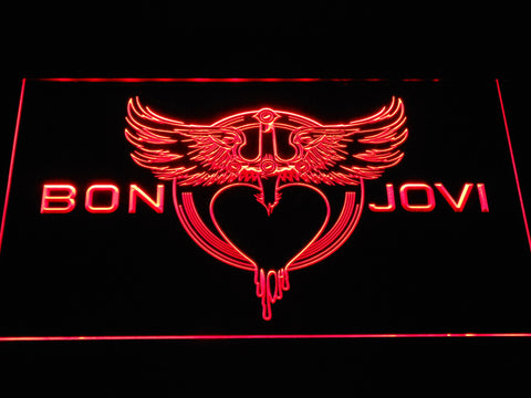 Bon Jovi Heart and Dagger Logo LED Neon Sign - Red - SafeSpecial