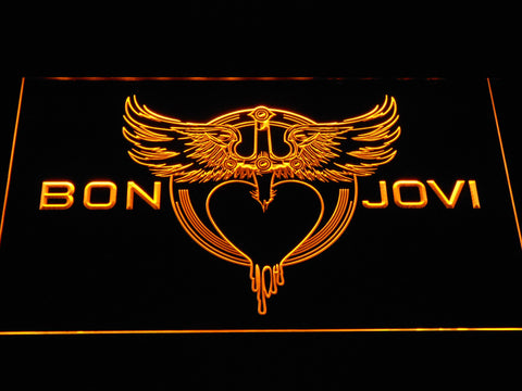 Bon Jovi Heart and Dagger Logo LED Neon Sign - Yellow - SafeSpecial