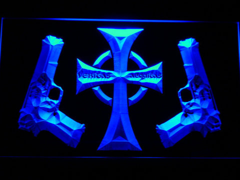 Boondock Saints Guns and Cross LED Neon Sign - Blue - SafeSpecial