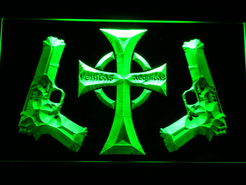Image of Boondock Saints Guns and Cross LED Neon Sign - Green - SafeSpecial