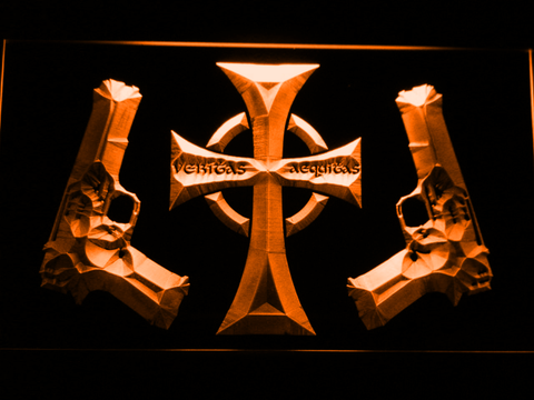 Boondock Saints Guns and Cross LED Neon Sign - Orange - SafeSpecial