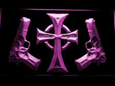 Image of Boondock Saints Guns and Cross LED Neon Sign - Purple - SafeSpecial