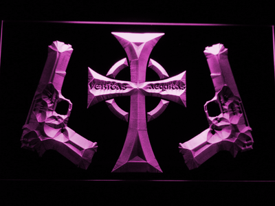 Boondock Saints Guns and Cross LED Neon Sign - Purple - SafeSpecial