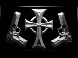 Boondock Saints Guns and Cross LED Neon Sign - White - SafeSpecial