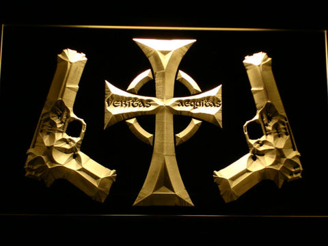 Image of Boondock Saints Guns and Cross LED Neon Sign - Yellow - SafeSpecial