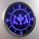 Boondock Saints Guns and Cross LED Neon Wall Clock - Blue - SafeSpecial
