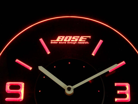 Image of Bose Modern LED Neon Wall Clock - Red - SafeSpecial
