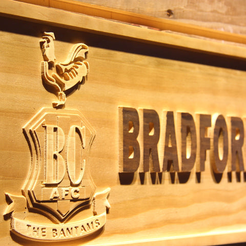 Image of Bradford City AFC Crest Wooden Sign - - SafeSpecial
