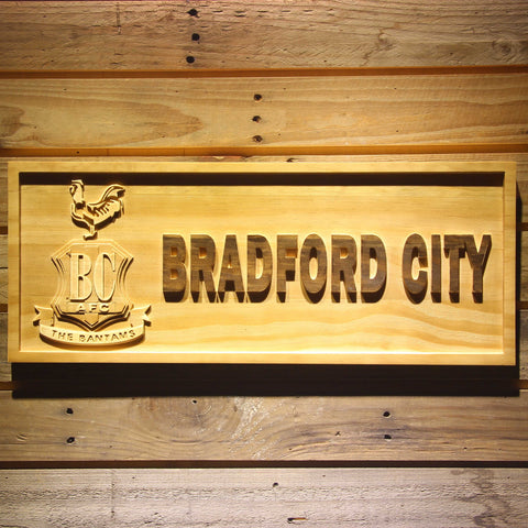 Image of Bradford City AFC Crest Wooden Sign - Small - SafeSpecial