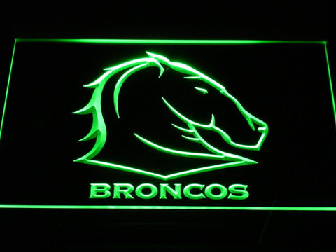 Image of Brisbane Broncos LED Neon Sign - Green - SafeSpecial