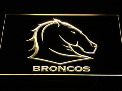 Brisbane Broncos LED Neon Sign - Yellow - SafeSpecial