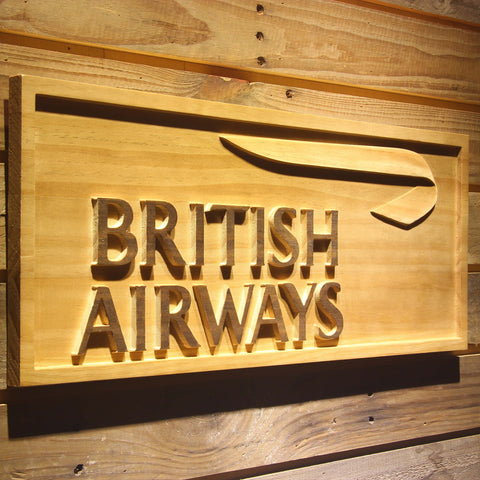 Image of British Airways Wooden Sign - - SafeSpecial