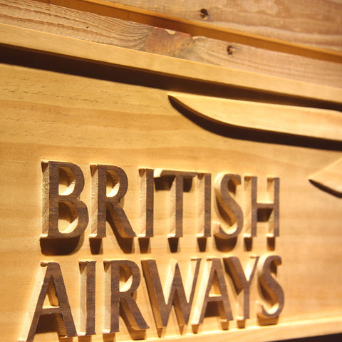 British Airways Wooden Sign - - SafeSpecial