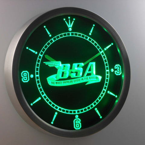 BSA LED Neon Wall Clock - Green - SafeSpecial