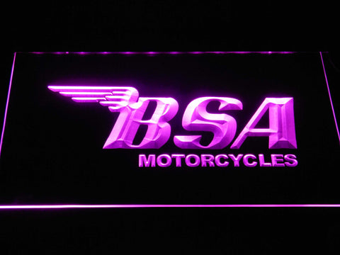 BSA Motorcycles LED Neon Sign - Purple - SafeSpecial