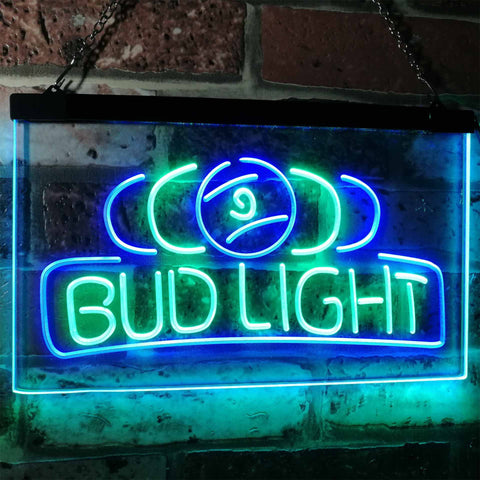 Bud Light Billiards Neon-Like LED Sign - Dual Color - Green and Blue - SafeSpecial