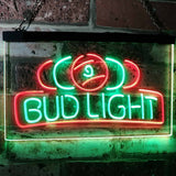 Bud Light Billiards Neon-Like LED Sign - Dual Color - Green and Red - SafeSpecial