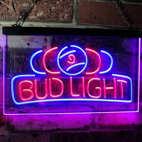 Bud Light Billiards Neon-Like LED Sign - Dual Color - Red and Blue - SafeSpecial