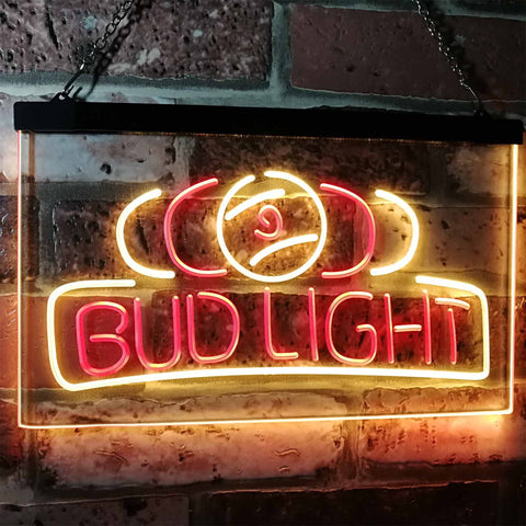 Bud Light Billiards Neon-Like LED Sign - Dual Color - Red and Yellow - SafeSpecial