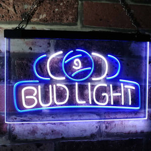 Bud Light Billiards Neon-Like LED Sign - Dual Color - White and Blue - SafeSpecial