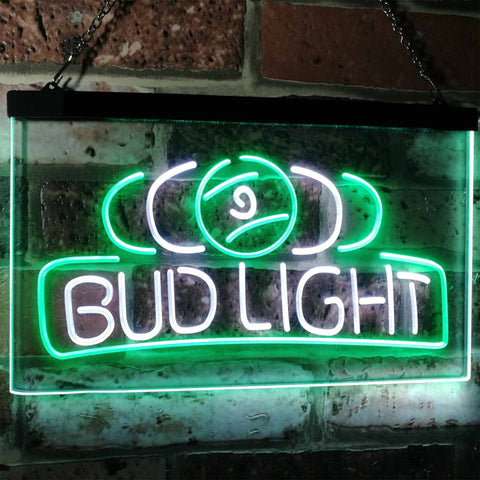 Bud Light Billiards Neon-Like LED Sign - Dual Color - White and Green - SafeSpecial