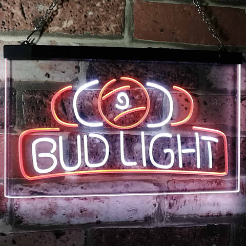 Bud Light Billiards Neon-Like LED Sign - Dual Color - White and Orange - SafeSpecial