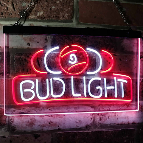Bud Light Billiards Neon-Like LED Sign - Dual Color - White and Red - SafeSpecial