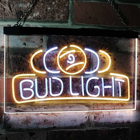 Bud Light Billiards Neon-Like LED Sign - Dual Color - White and Yellow - SafeSpecial