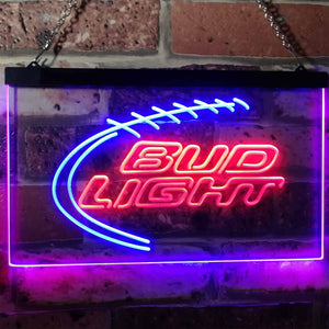 Bud Light Football Neon-Like LED Sign - Dual Color - Red and Blue - SafeSpecial
