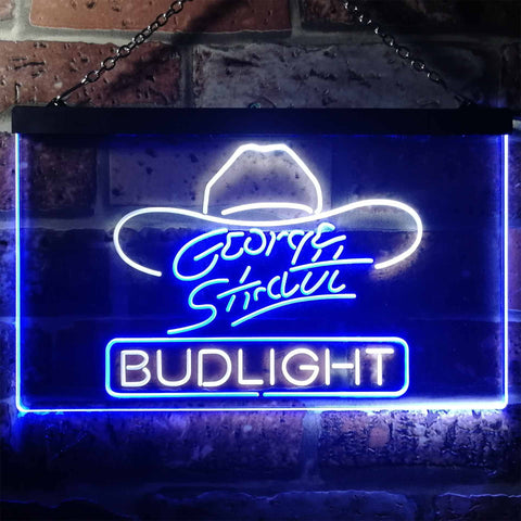 Image of Bud Light George Strait Hat Neon-Like LED Sign - Dual Color