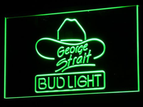 Bud Light George Strait LED Neon Sign - Green - SafeSpecial