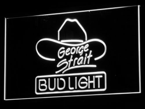 Bud Light George Strait LED Neon Sign - White - SafeSpecial