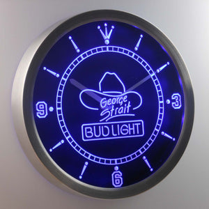 Bud Light George Strait LED Neon Wall Clock - Blue - SafeSpecial