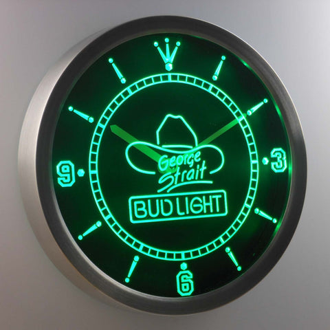 Bud Light George Strait LED Neon Wall Clock - Green - SafeSpecial