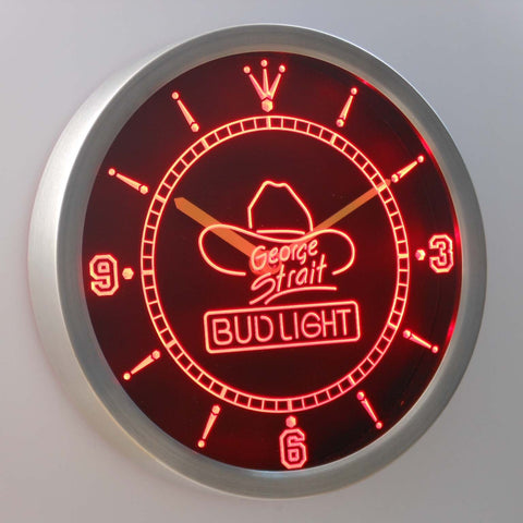 Bud Light George Strait LED Neon Wall Clock - Red - SafeSpecial