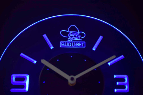 Bud Light George Strait Modern LED Neon Wall Clock - Blue - SafeSpecial