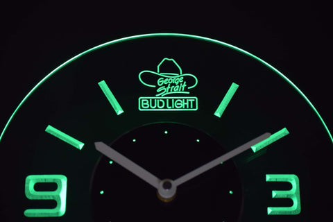 Image of Bud Light George Strait Modern LED Neon Wall Clock - Green - SafeSpecial