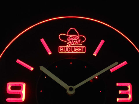 Bud Light George Strait Modern LED Neon Wall Clock - Red - SafeSpecial