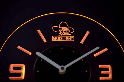 Bud Light George Strait Modern LED Neon Wall Clock - Yellow - SafeSpecial