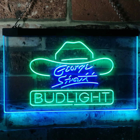 Bud Light George Strait Neon-Like LED Sign - Dual Color - Green and Blue - SafeSpecial