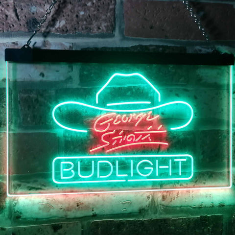 Bud Light George Strait Neon-Like LED Sign - Dual Color - Green and Red - SafeSpecial