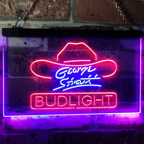 Bud Light George Strait Neon-Like LED Sign - Dual Color - Red and Blue - SafeSpecial