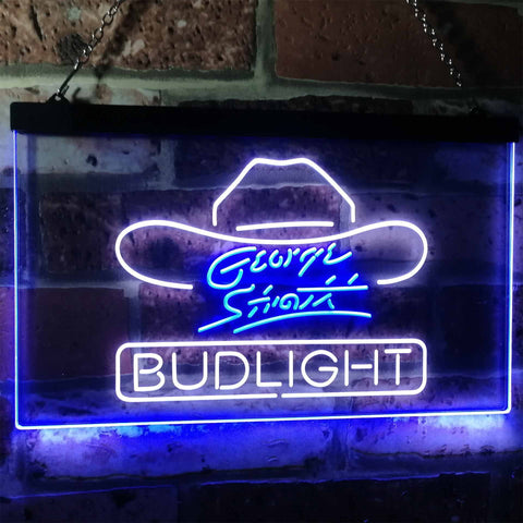 Bud Light George Strait Neon-Like LED Sign - Dual Color - White and Blue - SafeSpecial