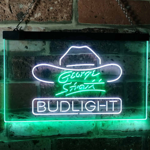 Bud Light George Strait Neon-Like LED Sign - Dual Color - White and Green - SafeSpecial