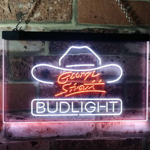Bud Light George Strait Neon-Like LED Sign - Dual Color - White and Orange - SafeSpecial
