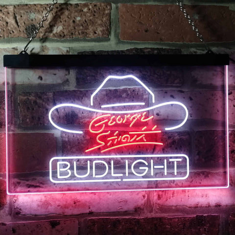 Bud Light George Strait Neon-Like LED Sign - Dual Color - White and Red - SafeSpecial