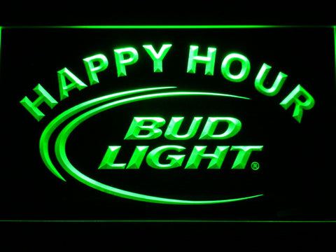 Bud Light Happy Hour LED Neon Sign - Green - SafeSpecial