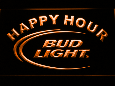 Image of Bud Light Happy Hour LED Neon Sign - Orange - SafeSpecial