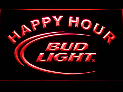 Bud Light Happy Hour LED Neon Sign - Red - SafeSpecial